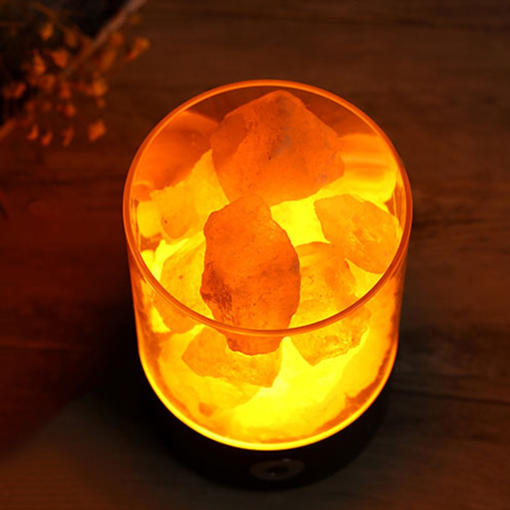 Hot Sale Natural Rechargeable Himalayan USB Salt Lamp Portable Design Touch Brightness Wedding Party Home Bedroom Night Light