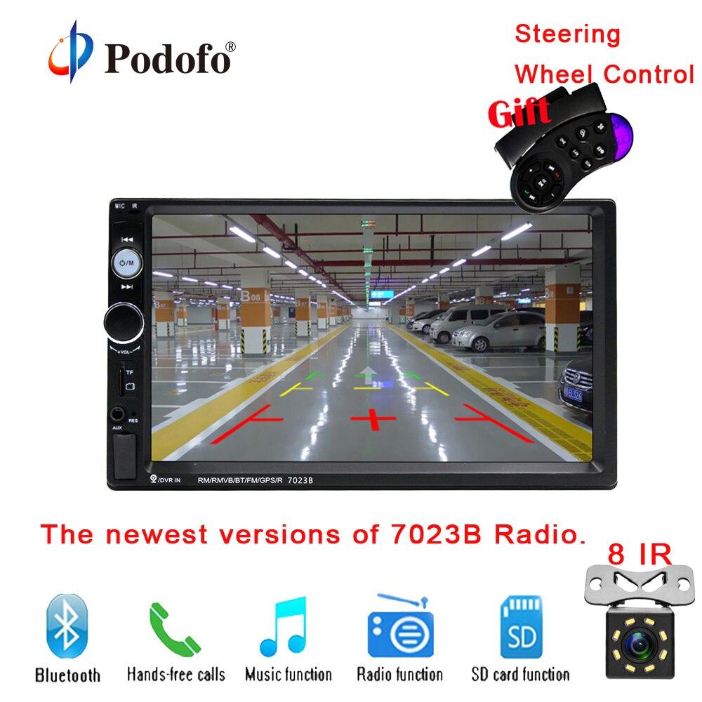 7023B Podofo 2 din Car Multimedia Player de Áudio Estéreo rádio 7 Tela de Toque HD MP5 Player Suporte a Bluetooth Câmera FM USB SD Aux