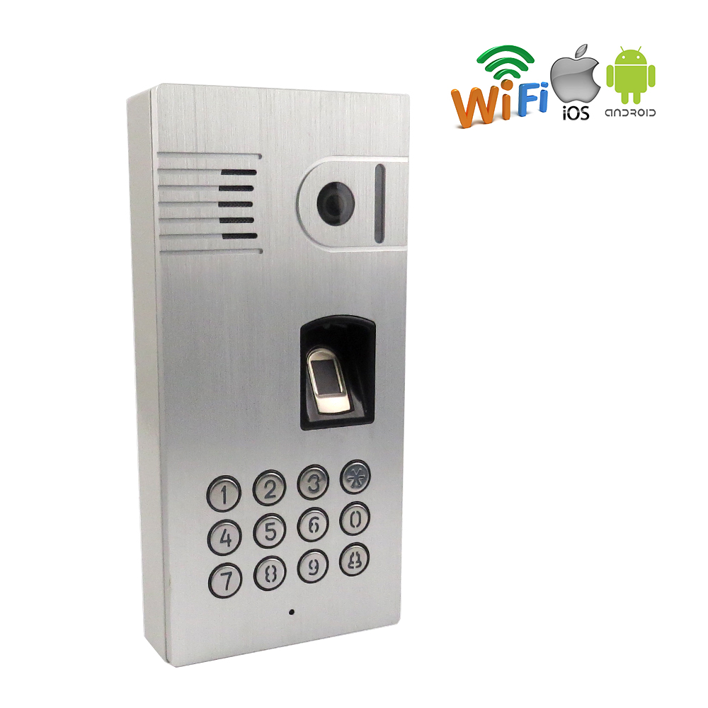 FREE SHIPPING Fingerprint Code Keypad Access Wireless Network Wifi Video Door Phone Intercom Waterproof Doorbell for Android IOS