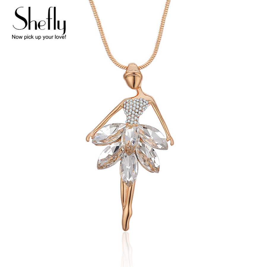 Classic Gold Romanic Dancer Pendant Necklace for Women White Crystal Ballet Dancing Girl Necklace Fairy Jewelry Accessories Gift