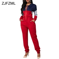 Contrast Color Casual Rompers Womens Jumpsuit Women Long Sleeve Front Zipper One Piece Overall Winter Pockets Plus Size Bodysuit