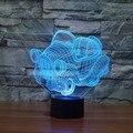 7 Mudando A cor do Led luz Do Feriado Atmosfera Carro Decorativo Iluminação Brinquedo Gadget LED Luz Noturna 3D Ilusão Lâmpada Luz