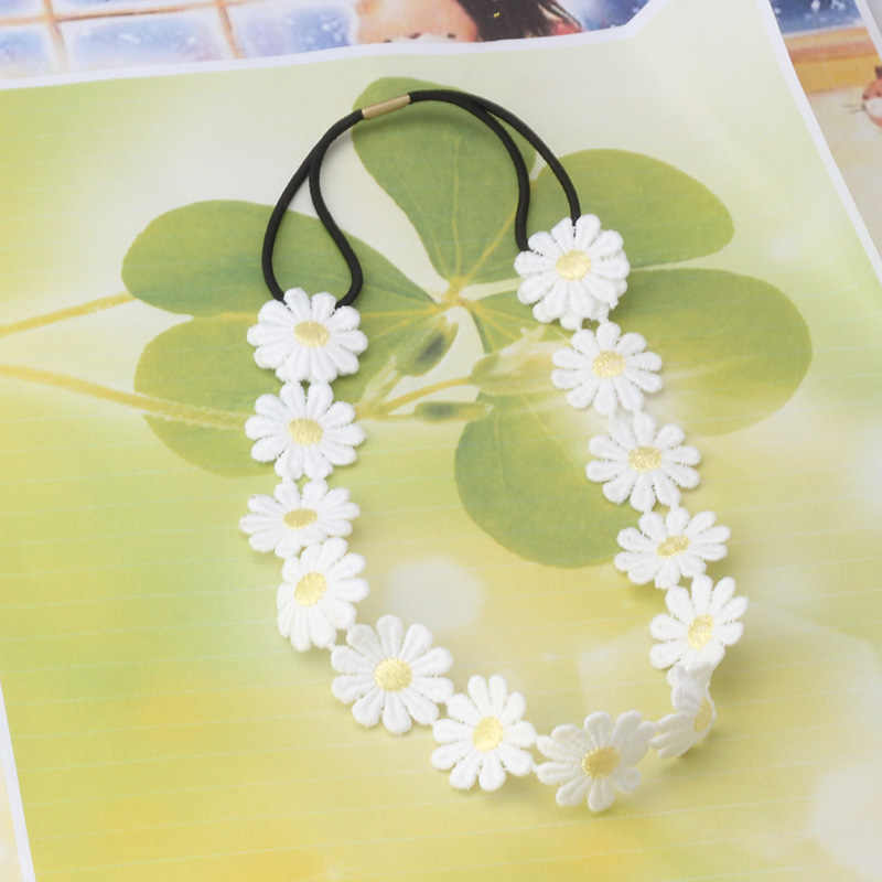 New Fashion Flower Headband Girls Elastic Hair Band Women Hair Accessories White Daisy Rims Headwear Chain Floral Hair Head Band