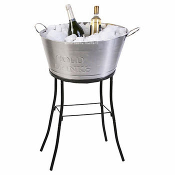 A-8889 Oval Ice Barrel High-Capacity Stainless Steel Ice Pail Barbecue Wine Champagne Beer Bucket KTV Club Supplies With Handle