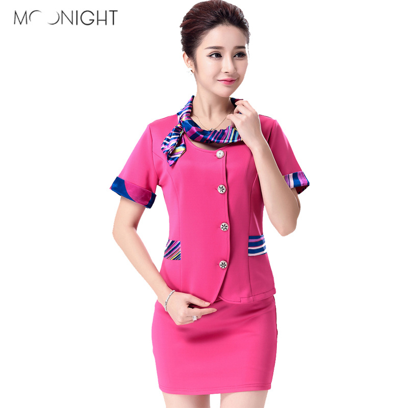MOONIGHT 3 Color Women Sexy Stewardess Uniforms Ladies Air Hostess Flight Attendant Halloween Costumes Party Cosplay Top+Skirt