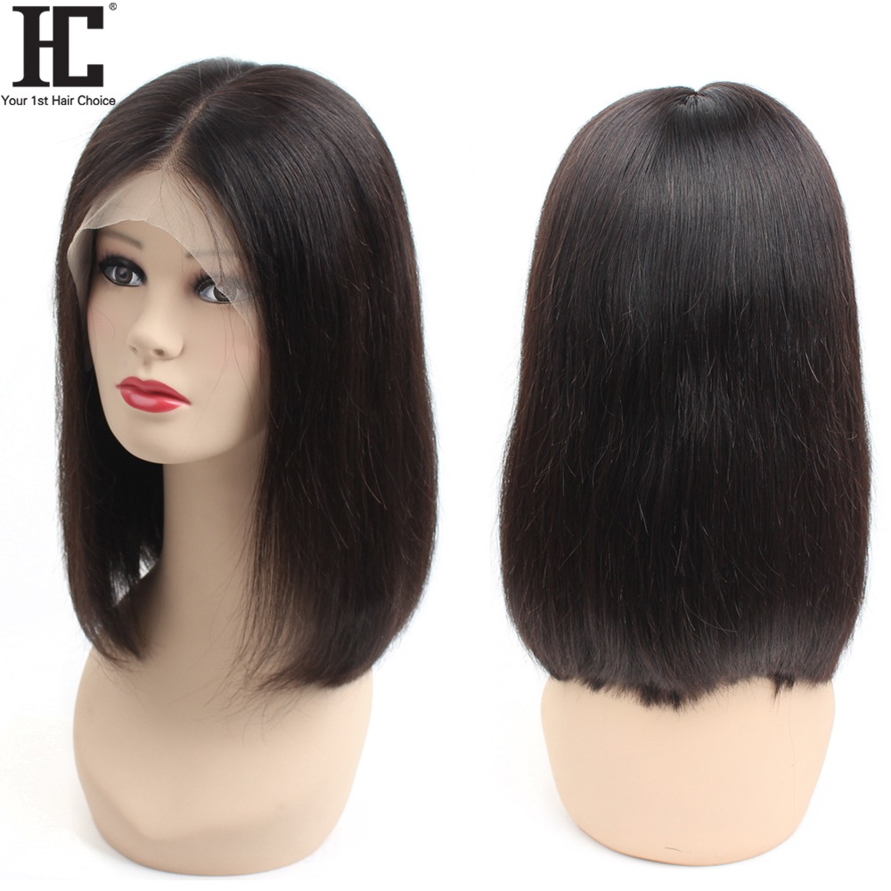 HC 13X6 Lace Front Human Hair Wigs For Black Women 150% Brazilian Straight Human Hair Wigs Glueless Short Bob Wig Deep Part Remy