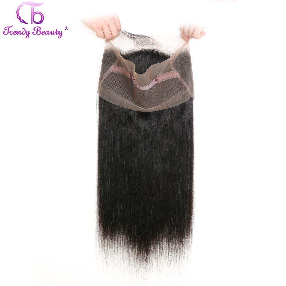 Brazilian Straight Hair 3 Bundles with 1 pcs Lace Frontal 22x4 inches 360 Frontal Natural Black Color Non-remy Trendy Beauty