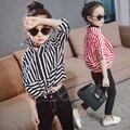 Kids Girls Striped Shirt Spring 2017 New Girls Long Sleeve Shirt Free Shipping
