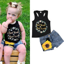 Baby Girl Sunflower Clothes Outfits Kids T-shirt Tops +Denim Jeans Pants Shorts Set