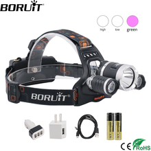 BORUiT T6 XPE 390nm UV LED Headlamp 1000LM 3 Mode Powerful Headlight Rehargeable 18650 Waterproof Head Torch for Camping Fishing