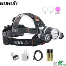 BORUiT T6 XPE 390nm UV LED Scheinwerfer 1000LM 3 Modus Leistungsstarke Scheinwerfer Rehargeable 18650 Wasserdichte Kopf Taschenlampe für Camping angeln