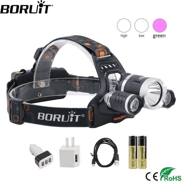BORUiT T6 XPE 390nm UV LED far 1000LM 3 Mode güçlü far şarj edilebilir 18650 su geçirmez baş feneri kamp balıkçılık için