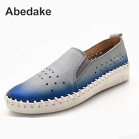 Abedake Brand Women Flats Genuine Leather Single Shoes Handmade Women Candy Colors Fashion Casual Shoes