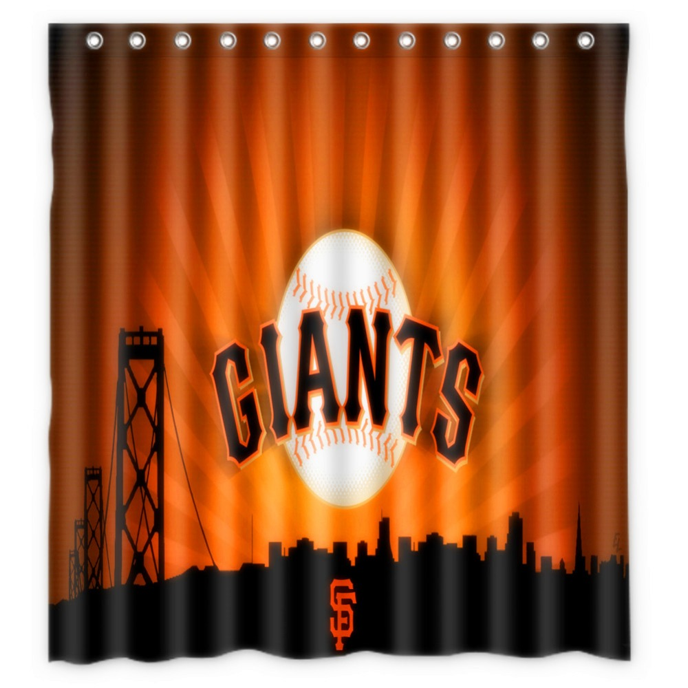 Vixm Home Custom San Francisco Giants Bath Curtains Waterproof Fabric Shower For Decors With C Hooks 66x72 Inch In From