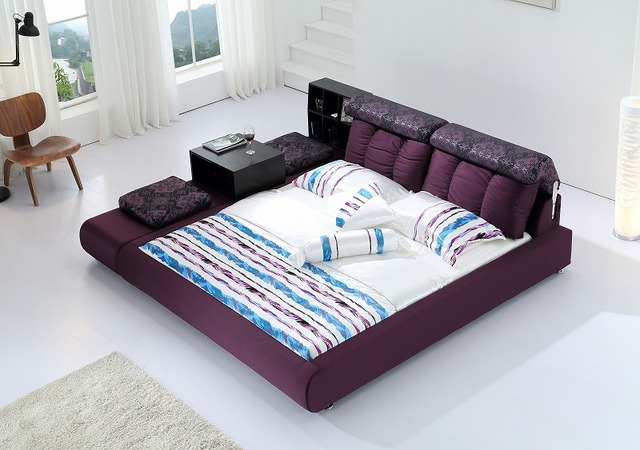 Modern Fabric Soft Bed Contemporary Bedroom Furniture China Purple Ottoman  Storage Cabinet