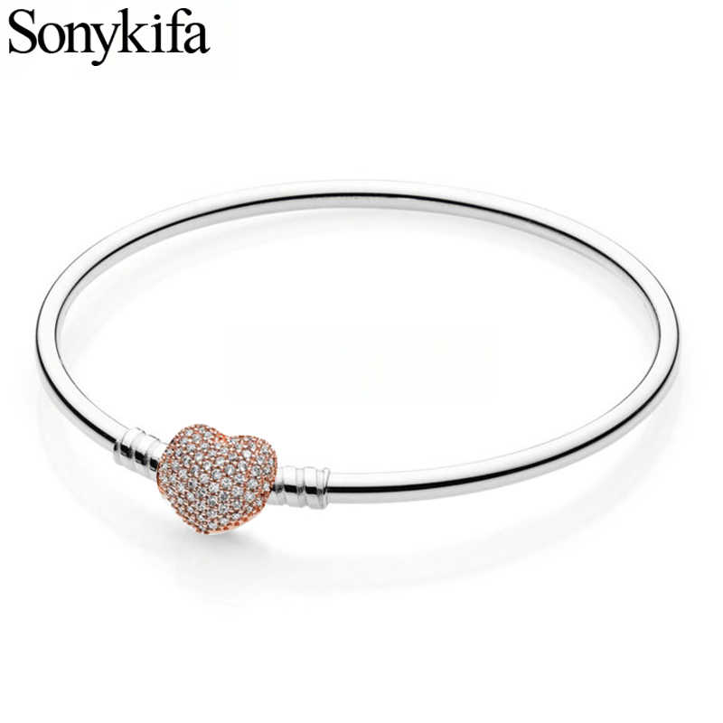 Sonykifa New Fashion Cubic Zirconia Fine Bracelet & Bangle Diy Pulseras Mujer Charm Bracelet For Women Bridal Wedding Jewelry