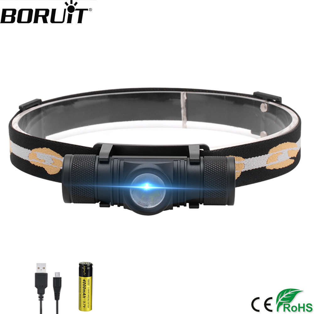 BORUiT D10 3000lumens XM-L2 LED Headlamp USB Rechargeable Cycling Headlight 18650 Battery Head Torch Camping Fishing Flashlight