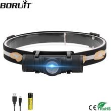 BORUiT D10 XM L2 LED 전조 등 강력한 3000LM 방수 헤드 라이트 캠핑 사이클링을위한 USB 충전식 18650 헤드 토치