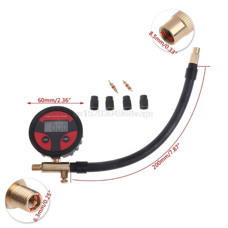 0-200PSI de neumáticos Digital de presión de aire del neumático de LCD manómetro coche camión motocicleta D25 envío de la gota