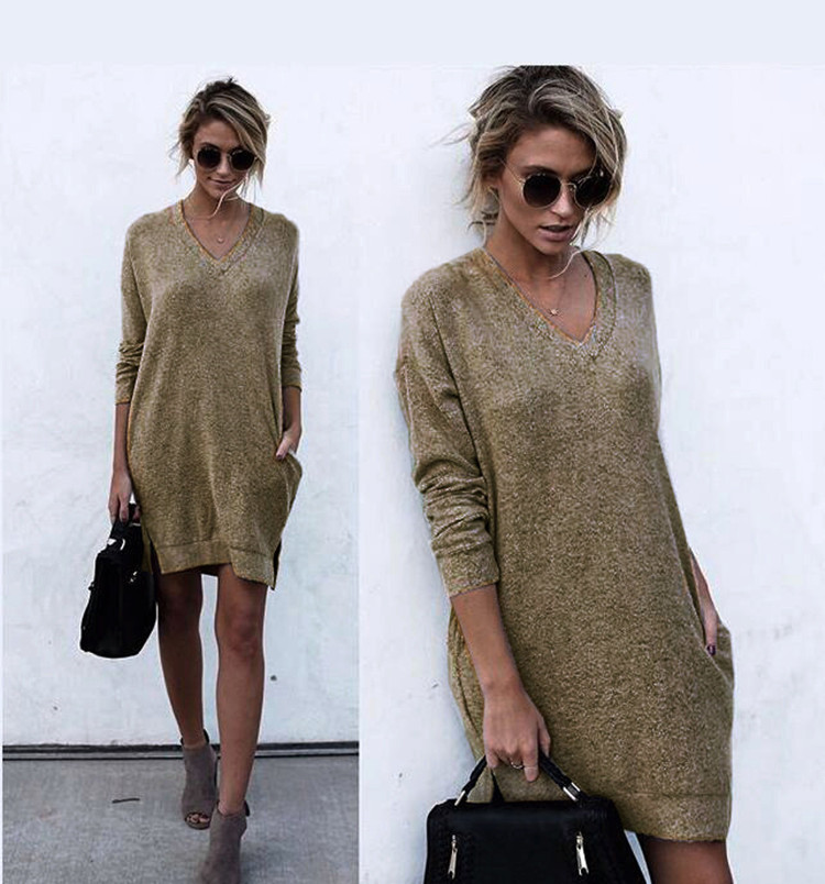 v neck knit woman dresses spring autumn long sleeve solid black khaki pockets knit female dresses in Dresses from Women 39 s Clothing