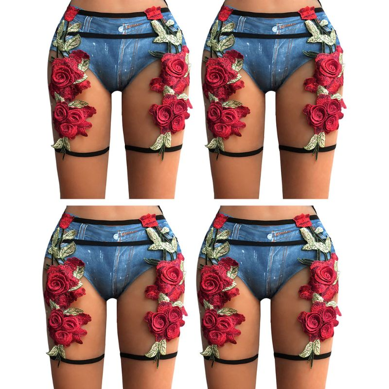 Womens Sexy High Waist Caged Body Harness Pants Embroidered Rose Flower Leaf Applique Leg Elastic Strappy Lingerie Garter Belt