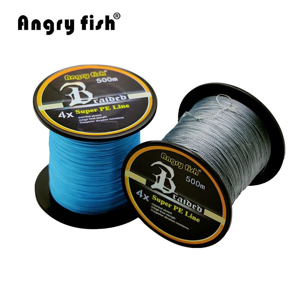 Angryfish Hot New 500 m 4 Fili Intrecciato Linea PE Linea di Pesca 11 Colori Super Forte Resistenza