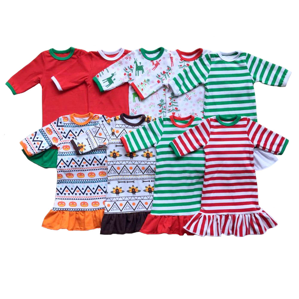 18 the American Girl Doll Christmas Nightgown Ruffle Dress Girls halloween Pajamas thanksgiving personalized initial doll Dress