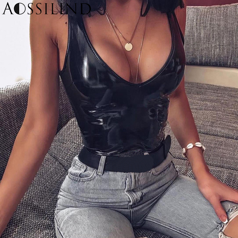 AOSSILIND V-Neck PU Leather Skinny Sexy Women Bodysuit 2019 Spring Summer Sleeveless Rompers Ladies Club Casual Bodysuits