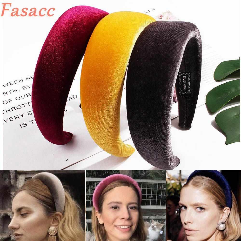 FASACC المخملية حافة الإسفنج هيرباند الموضة واسعة الحافة النساء عقال العصابات الشعر عصابة رأس فتاة الكورية الجديدة امرأة إكسسوارات الشعر
