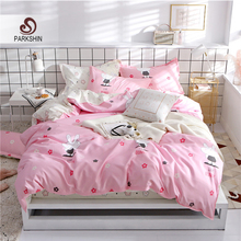 ParkShin Cartoon Rabit Home Bedding Set 3/4pcs Rubber Fitted Sheet On Elastic Band Bedspread Duvet Cover Pillowcases Bedclothes