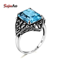 Szjinao Vintage 100 Real 925 Sterling Silver Jewelry Hollow Antique Solitaire Victoria Wieck Rings For Women