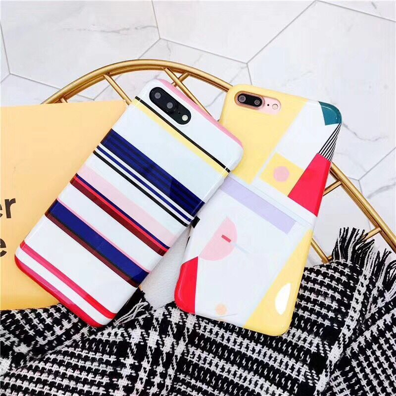 Glossy Silicone Bright Soft TPU Mobile Phone Case For iPhone6 6S 6Plus Geometric Grid Check IMD Print Protective Shell Back Bags