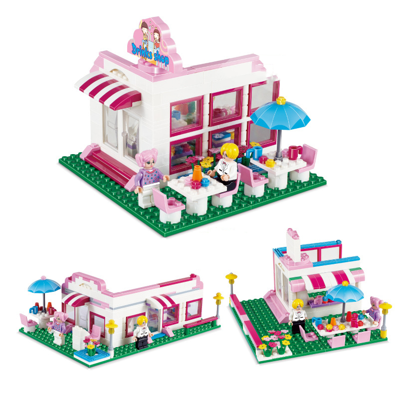 264pcs Girl Toy Set Store Leisure Game Plastic Building Blocks Greeting Guests Educational Toys for Children Kids K0266-33005 ball finding game ru bun lock children puzzle toy building blocks