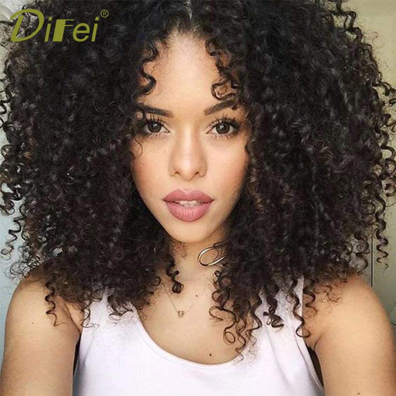 DIFEI HAIR Short Black Afro Kinky Curly Wig for Women African American Wigs Synthetic Short Kinky Heat Resistant Fiber Hair ...