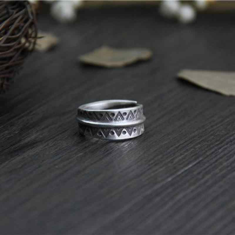 7bb67c64eaddf1 ... Real Pure 999 Sterling Silver Rings For Women And Men Vintage Handmade  Engraved Triangle Dot Pattern ...