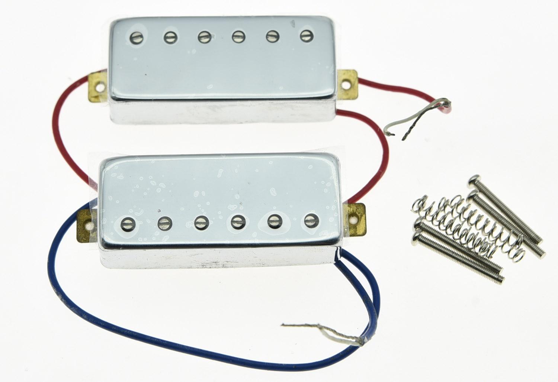 KAISH Chrome LP Guitar Mini Humbucker Neck Bridge Pickup Set 6.5K Pickups for LP vintage mini humbucker pickup