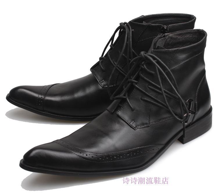 detailed look 35667 d236c Militares Bout Bottes Sécurité L armée Travail Chelsea Cuir Chaussures  Hommes Noir As Pointu D hiver ...