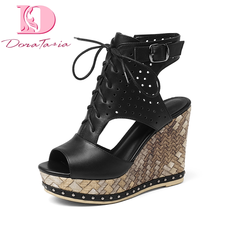 Doratasia New brand design women s Genuine Leather Wedges Zip Solid Platform Shoes Woman Casual Summer