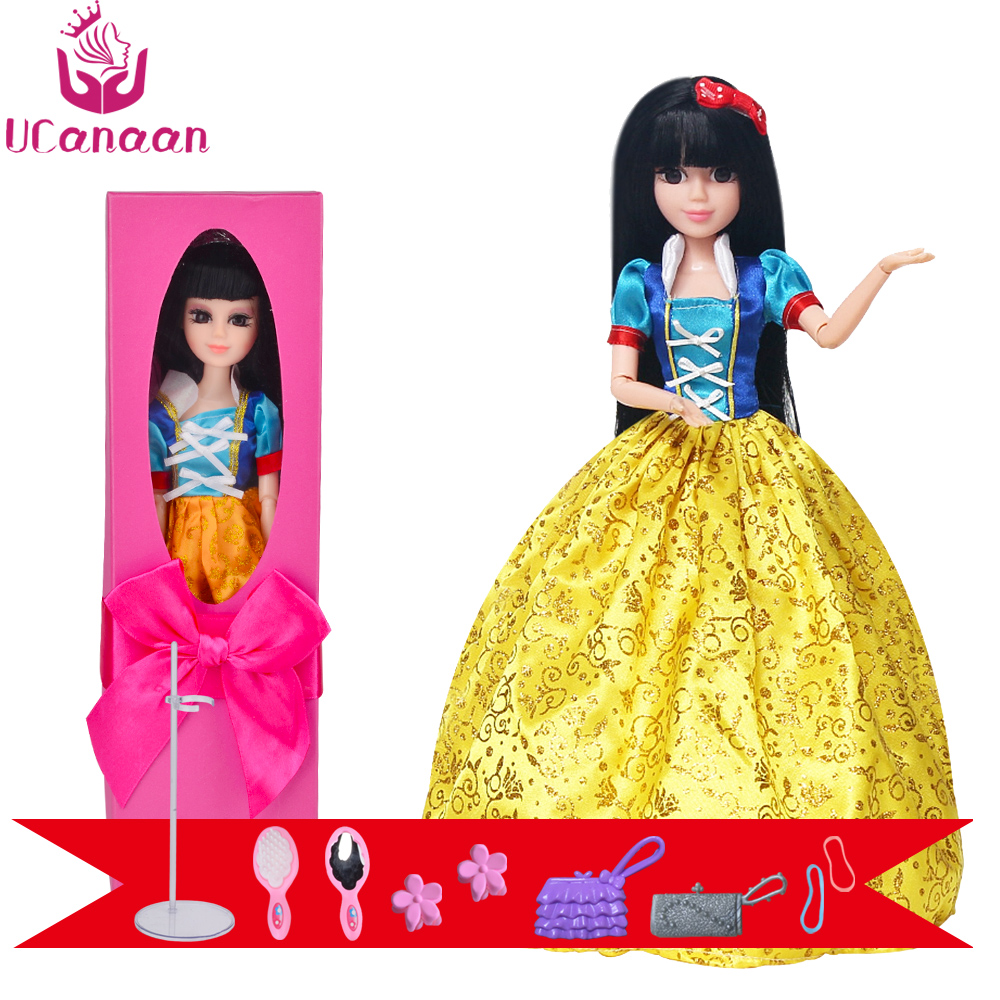 UCanaan 30CM Doll Snow White Princess Toys For Girls 3D Eyes Long Thick Hair Best Gifts For Children Baby Alive Reborn DIY Dolls ucanaan 1 3 bjd sd doll beauty and the beast girls dolls with outfit dress wig makeup princess doll for children new year gifts