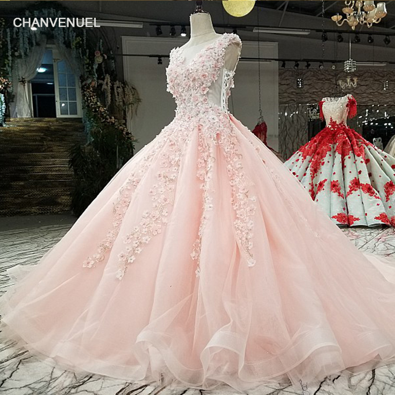 LS2987 pink ball gown evening dress with flowers cap sleeve o neck candy color girls dress for party with train as photos 2018