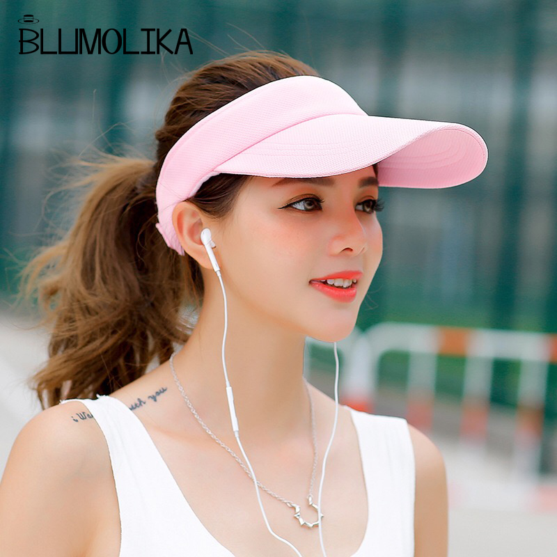 Long Peak Girls Topless Tennis Caps Black Pink White Color Sun Hats For Women Summer -1636