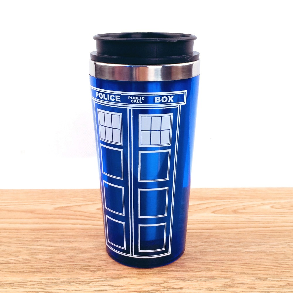 Free shipping doctor dr who tardis coffee cup stainless - Travel mug stainless steel interior ...