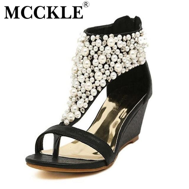 Mcckle mulher nova moda verão dedo aberto strass zipper pérola frisado sapatos cunhas sandálias mulheres sapatos de salto alto preto j3915