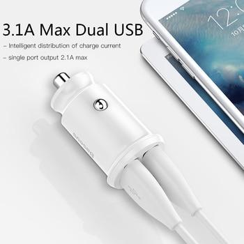 Baseus Mini Carregador de isqueiro para iPhone x Samsung s10 Xiaomi mi 9 3.1A Carregador de carro rápido Adaptador de carregador de carro USB Carregador de celular 1