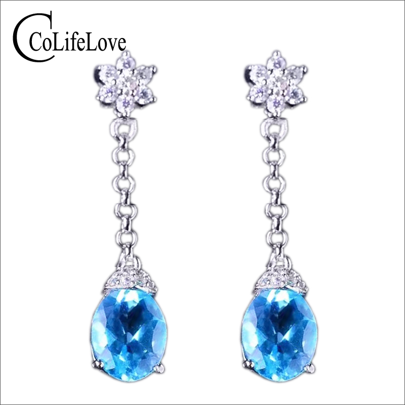 Dazzling gemstone eardrop for evening party 6*8mm 1.2ct natural blue topaz drop earrings solid 925 silver topaz earrings vintage 925 silver topaz drop earrings for party 5 mm 7 mm natural topaz silver earrings steriling silver topaz jewelry