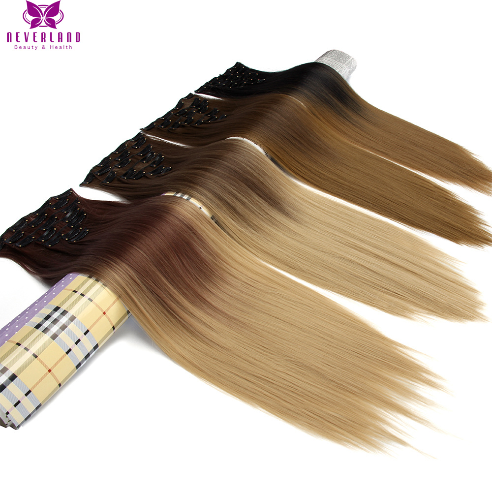 Neverland 24inch 60cm 16 Clips Full Head Hair Style Synthetic Hairpieces Straight Dip Dye Two Tone