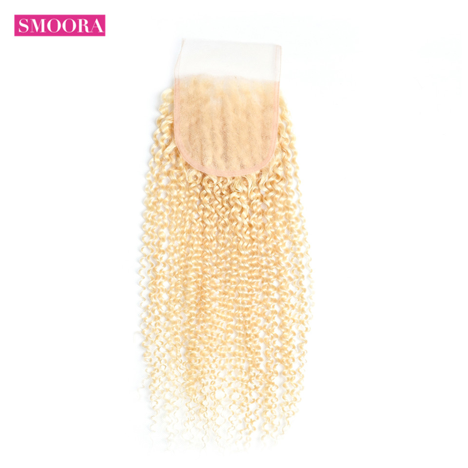 Smoora  Kinky Curly Lace Closure with Baby Hair Color 613 Blonde 100% Non  Blonde Closures Curly 1