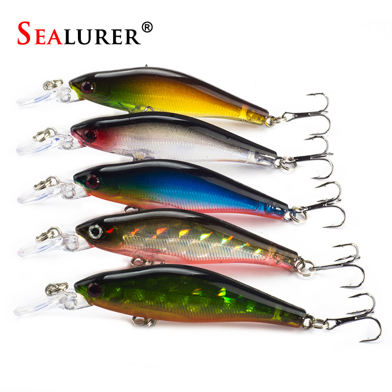 SEALURER 5Pcs/Lot Fishing Lures 8cm/6g 5Colors Crankbaits Swimbaits Jerkbaits  Fishing for Bass Sinking Minnow sealurer 5pcs fishing sinking vib lure 11g 7cm vibration vibe rattle hooks baits crankbaits 5 colors free shipping