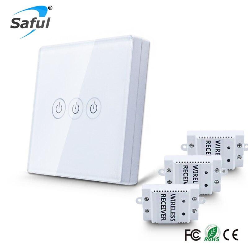 Standard Sans Fil Tactile Interrupteur 3 gang 3 Façon BRICOLAGE Interrupteur Télécommande LED Smart Home Interrupteur Mural Panneau Livraison gratuite