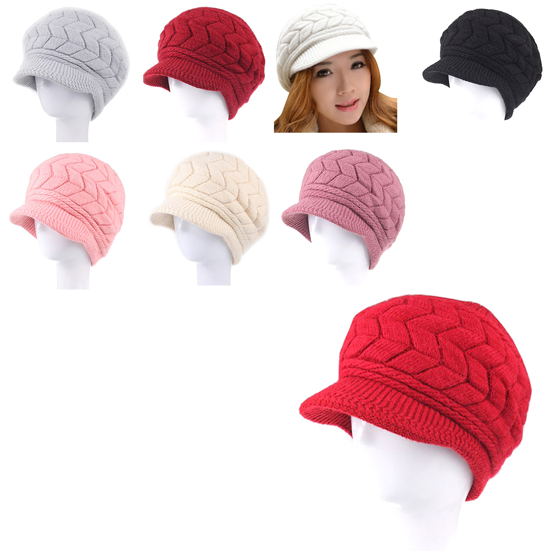 Hot Winter Women Hat Luxury Knitted Hats Female Soft High Elastic Warm Caps Beanies Headgear Girl Cap Solid Color